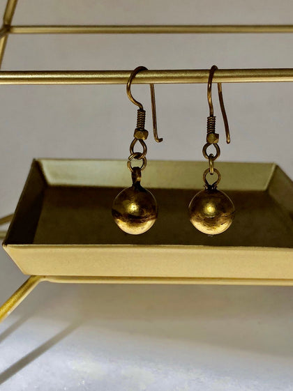 Zola Dhokra Brass Ball Earrings