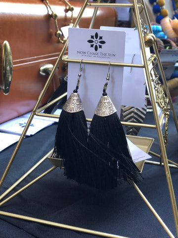 Black tassel earrings from India