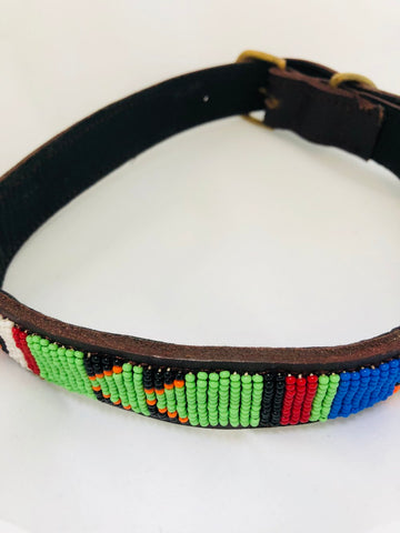 Maasai Beaded Leather Extra Large Dog Collar - Now Chase the Sun
