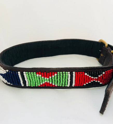 Beaded leather collar made in Kenya