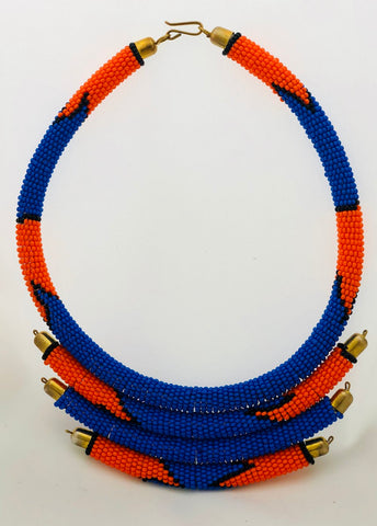 Naruki Abstract Beaded 3 Tier Statement necklace - Now Chase the Sun
