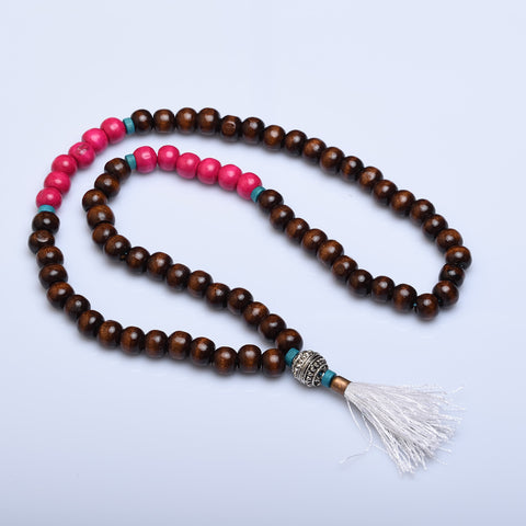 Silver Bead and Tassel Festival Necklace (Various Colors) - Now Chase the Sun