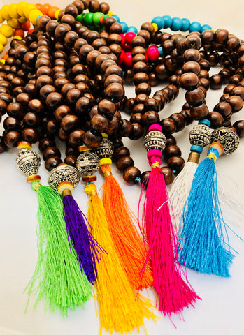 Silver Bead and Tassel Festival Necklace (Various Colors)