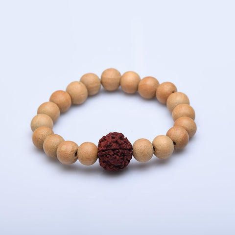 Simply Put Wood and Rudraksha Bracelet
