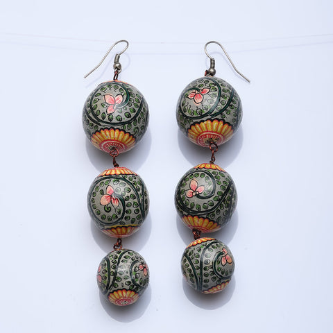 Zola Long Mughal Mural Hand Painted Seed Earrings