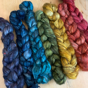 hand-dyed yak silk June 2020