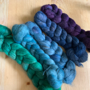 hand-dyed merino yak and silk June 2020