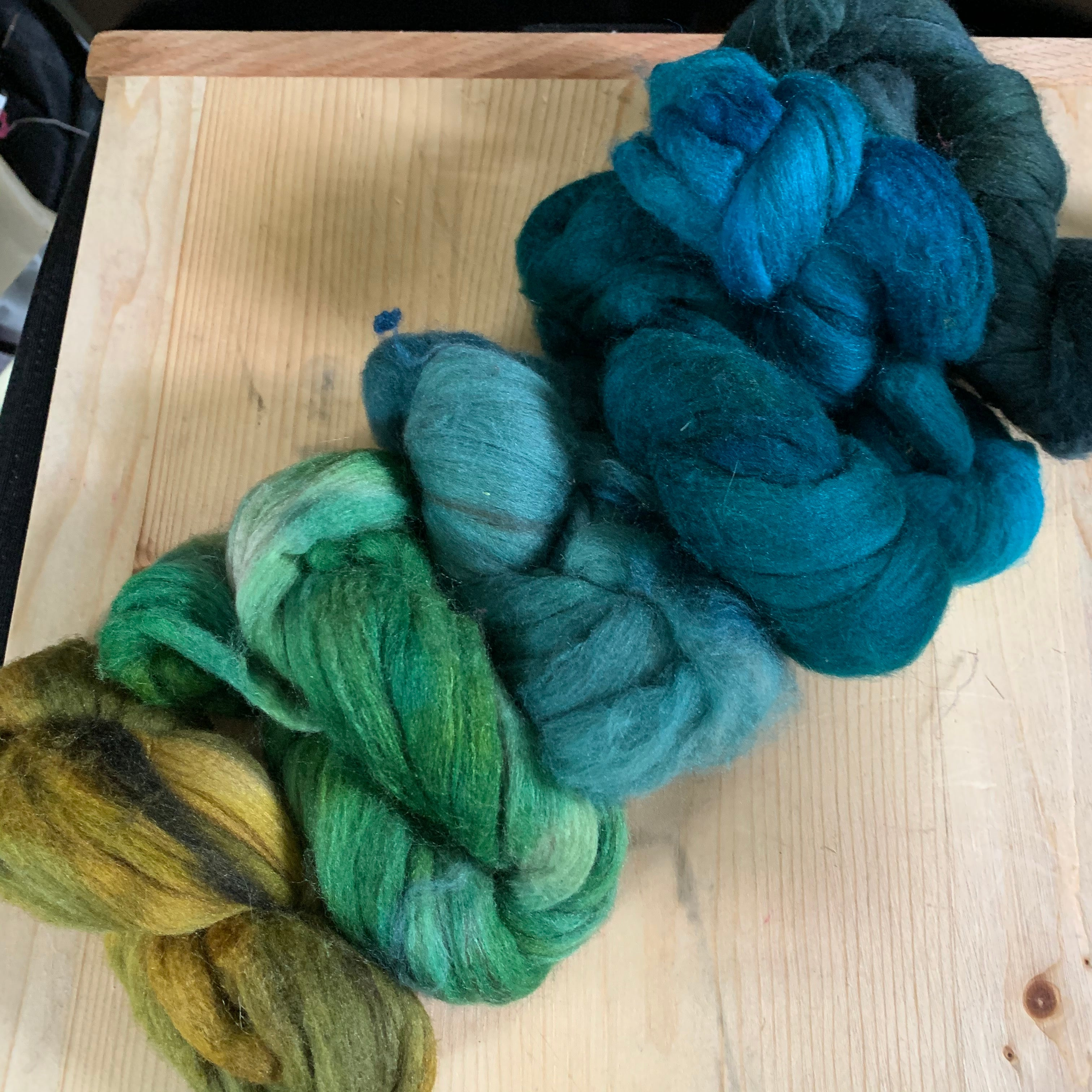 hand-dyed rambouillet yak silk, June 2020, yellows, greens and blues assortment