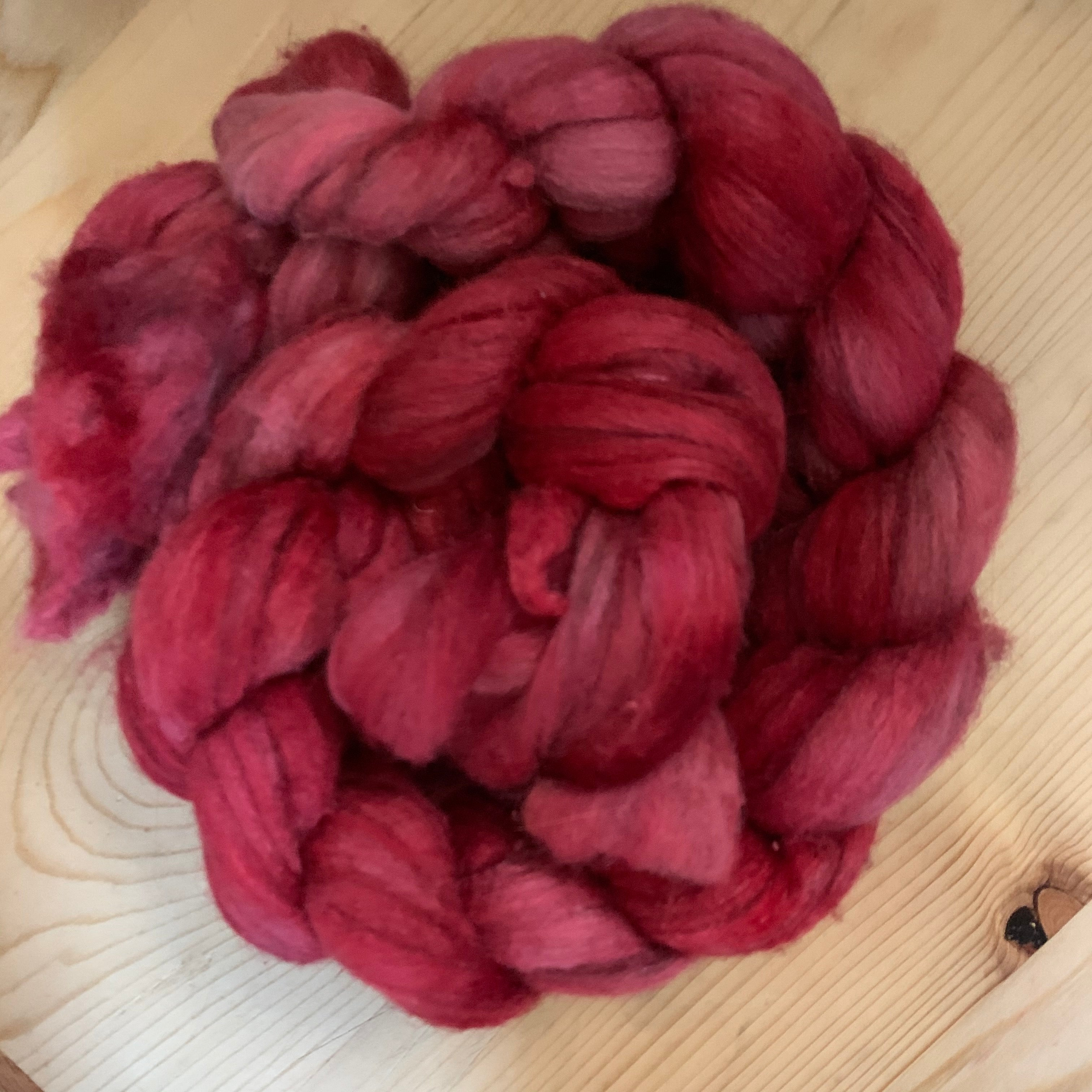 hand-dyed rambouillet yak silk, red