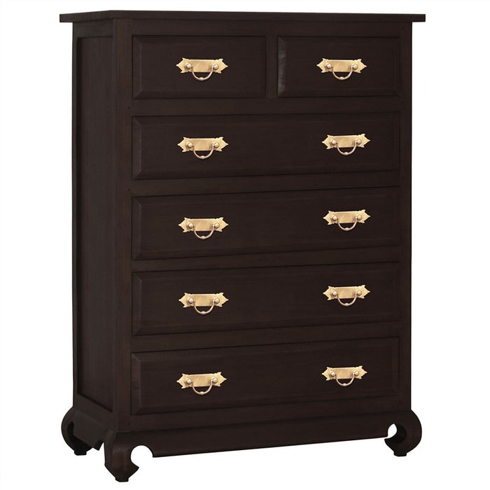 Ming Chinese Antique Chest of Drawers Solid Timber 6 Drawer Tallboy, Chocolate WAC888TB-006-OL-RJ-C_1