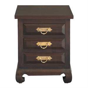 Ming Chinese Antique Lamp Table Night Stand Solid Timber 3 Drawer Bedside Table, Chocolate WAC888BS-003-OL-RJ-C_1