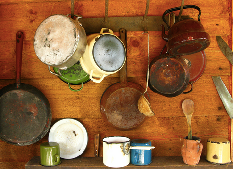 old pots and pans hanging