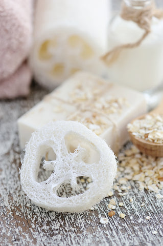 natural loofah with oatmeal soap