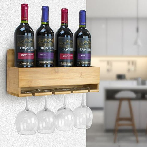 bamboo wine and glass rack