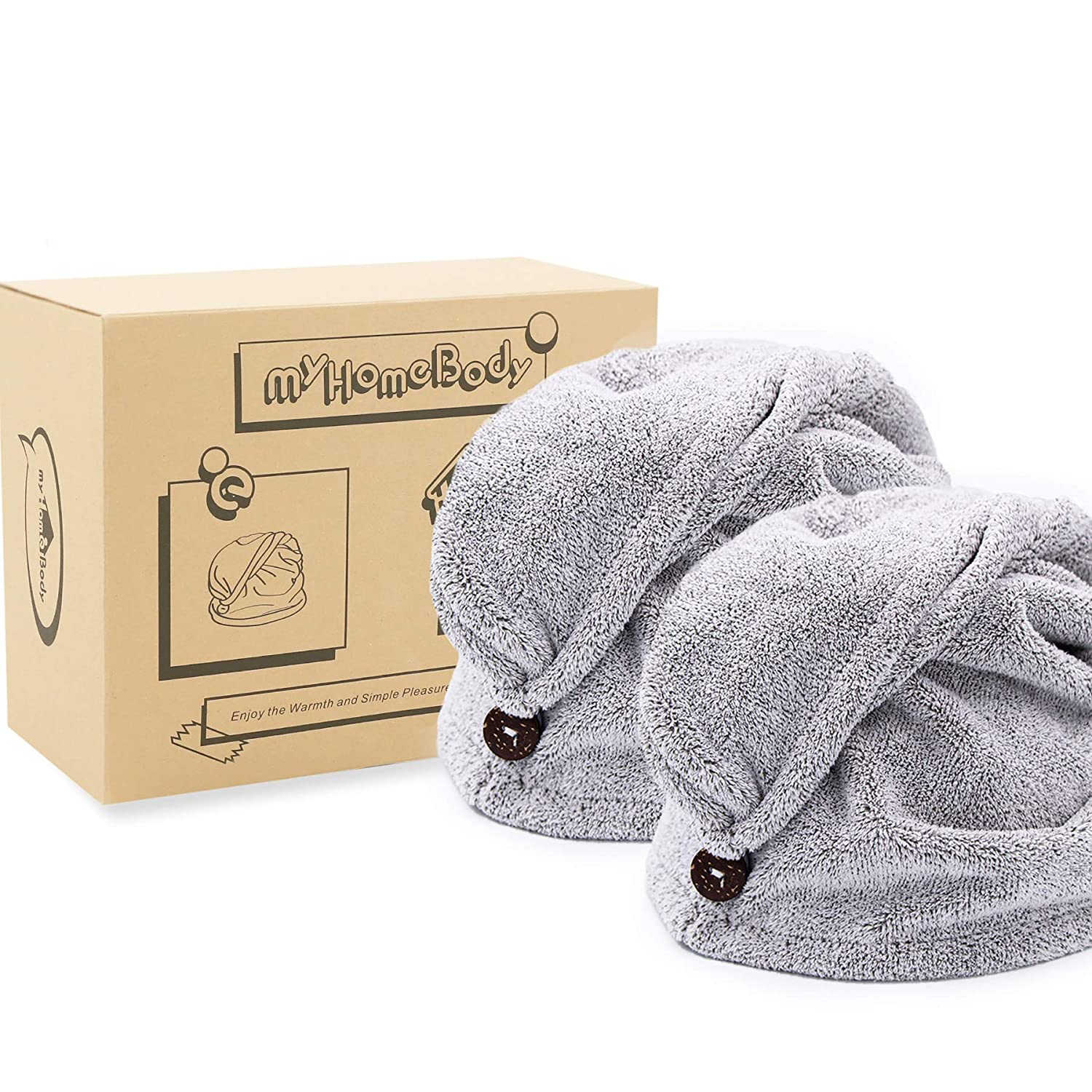 Hair Towel Wrap | Luxury Anti-Frizz Rapid-Dry Hair-Drying Turban | Ultra Soft and Quick Drying Bamboo Fiber, with Coconut Shell Button