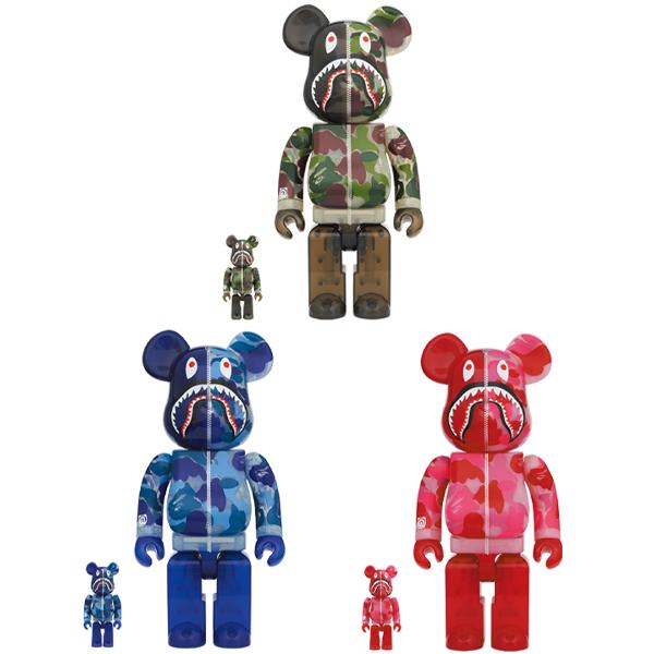 BE@RBRICK CLEAR ABC CAMO SHARK 100% & 400%