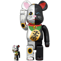 BE@RBRICK Manekineko Silver×Black 100% & 400%