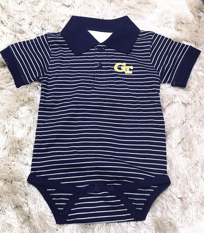 Georgia Tech Stripe Jersey Golf Shirt Creeper