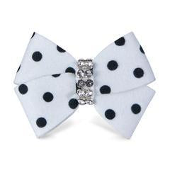 Susan Lanci Polka Dot Nouveau Bow Hair Bow-Single Black & White Polka Dot