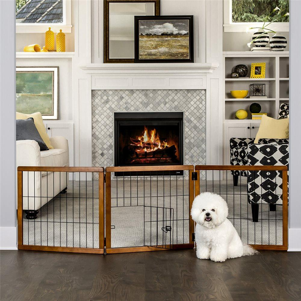 Carlson Small Breed 3-Panel Wood Freestanding Gate