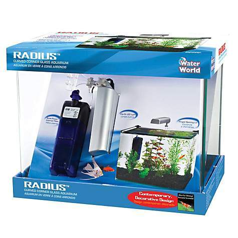 Image of Penn Plax Radius Curved Corner Glass Aquarium Kit- 5 Gallons