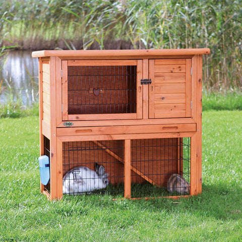 Image of Trixie Natura Small Animal Hutch with Sloped Roof And Outdoor Run