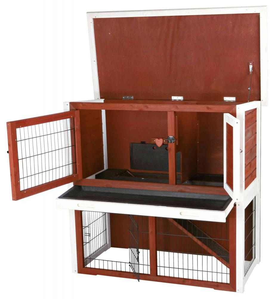 Trixie Natura Small Animal Hutch with Sloped Roof And Outdoor Run