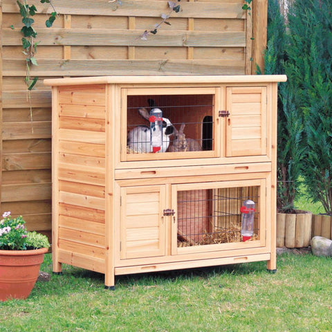 Image of Trixie Pet Products 2 Story Rabbit Hutch with Insulation