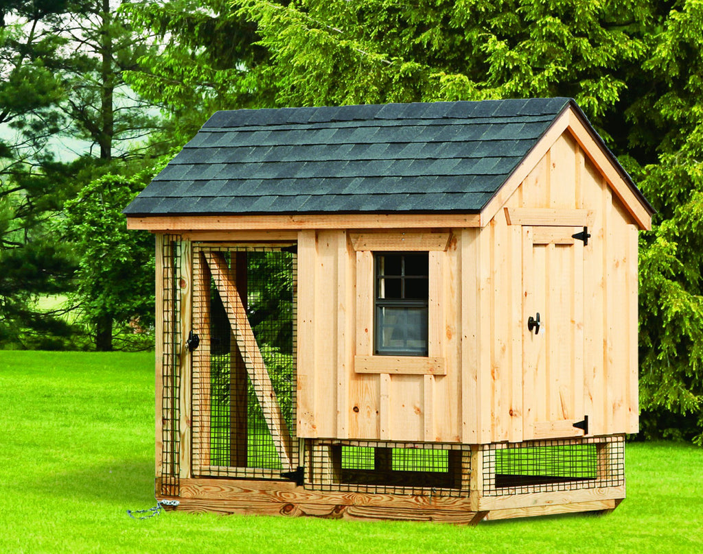 Amish A-Frame Style 4' x 6' Chicken Coop For 10 to 12 chickens