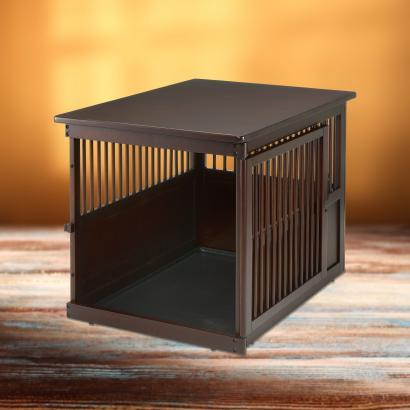 Richellusa Dark Brown Wooden End Table Pet Crate For Cats & Dogs Up To 88 Lbs