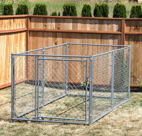 Image of Lucky Dog™ 4'H x 5'W x 10'L Chain Link Pet Kennel  CL 44150