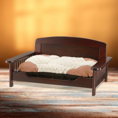 Richell Dark Brown Elegant Wooden Pet Bed For Dogs and Cats up to 44 lbs