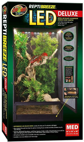 Image of Zoo Med ReptiBreeze LED Deluxe Open Air Aluminum Screen Cage