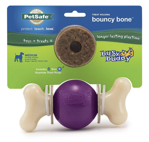 Image of PetSafe Busy Buddy Bouncy Bone Treat Holding Dog Toy