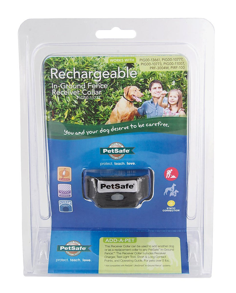 PetSafe Rechargeable In-Ground Fence for Dogs and Cats,Waterproof Receiver Collar with Tone and Static Correction