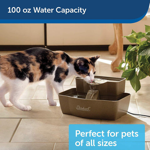PetSafe Drinkwell Dog and Cat Multi-Tier Water Fountain Automatic Drinking Fountain for Pets 100 oz Water Capacity