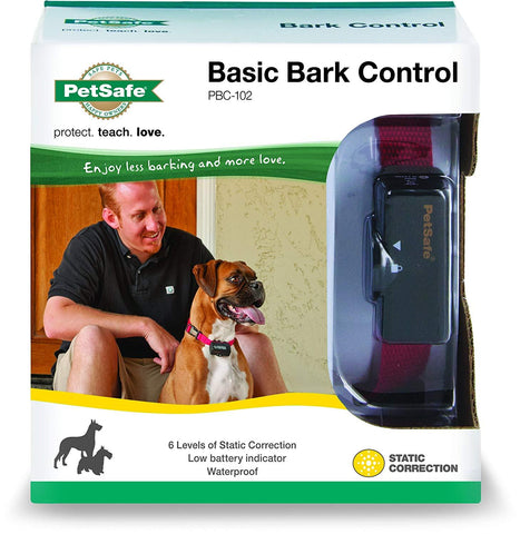 PetSafe Basic Bark Control Collar for Dogs 8 lb and Up Anti-Bark Training Device Waterproof Static Correction Canine