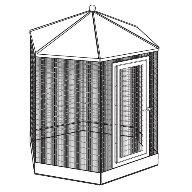 "Manchester Hexagon Steel Aviary/ Bird Cage, 84"" x 95"" Powdercoated"