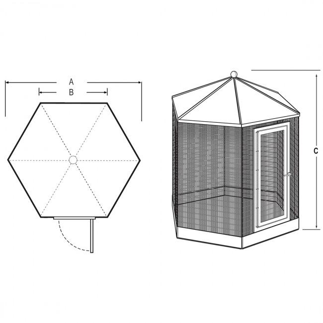 "Manchester Hexagon Steel Aviary/ Bird Cage, 48"" x 94"" Powdercoated"