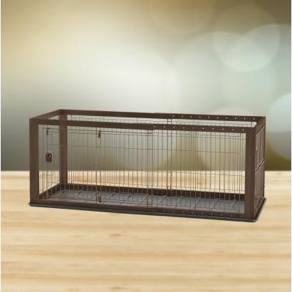 Richell Expandable Pet Crate Dogs Cats Play Pen Small Dark Brown