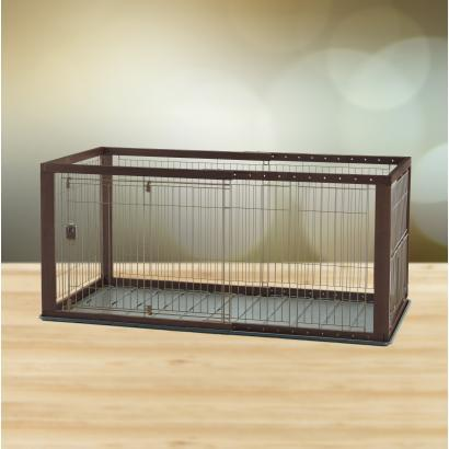 Image of Richell Expandable Pet Crate Dogs Cats Play Pen Small Dark Brown