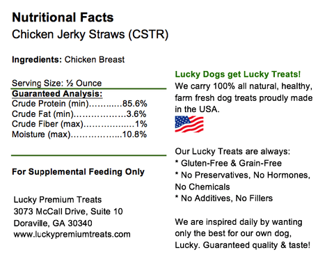 Image of 100% All Natural Premium Chicken Jerky Lucky Straws Dog Treats-8 oz. Tall Jar