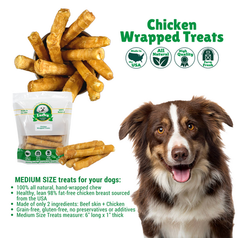 Image of 100% Natural Rawhide Gluten-Free Chicken Wrapped Treats- For Medium Dogs - 5 Count