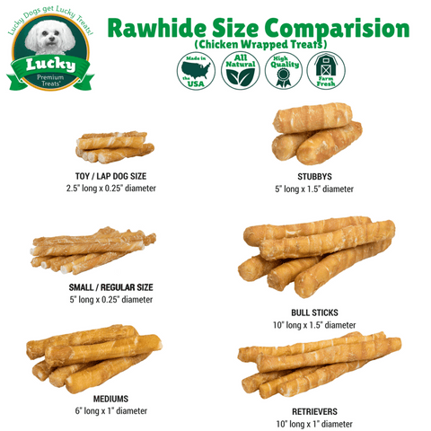 100% Natural Rawhide Gluten-Free Chicken Wrapped Treats- For Medium Dogs - 5 Count