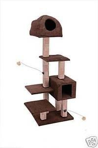 Penn Plax Cat Furniture-Dual Hide Away And Lounge Tower with Bamboo Rubbing Posts Brown