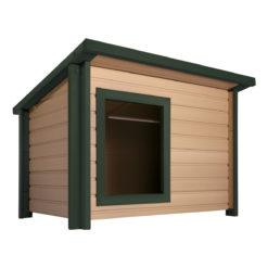 Image of New Age Pet® Rustic Lodge Dog House With Green Trim