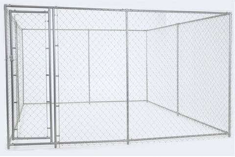 "Lucky Dog™Galvanized Chain Link Kennel  6'H x 5'W x 15'L or 10'W x 10""L"