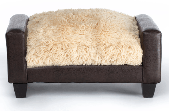 Club Nine Pets Metro Brown Faux Leather with Shaggy Camel Cushion