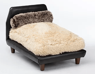 Club Nine Pets Mid-Century Bed Brown Faux Leather with Shaggy Camel Cushion