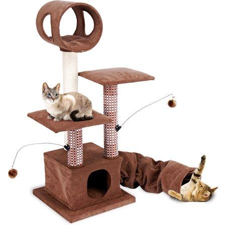 Penn Plax Cat Furniture-Multi Level Activity Lounging Tower and Tunnel with Retreat Hide-Away